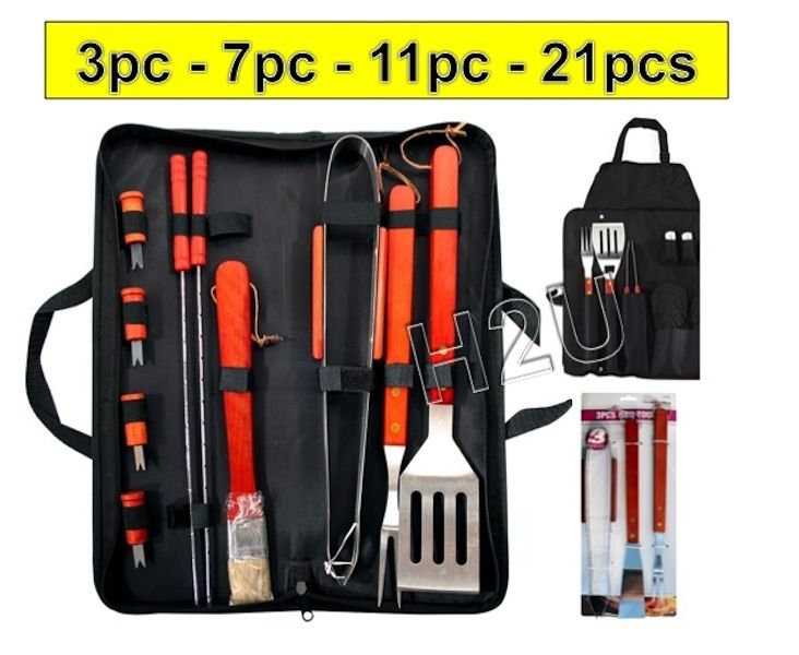 3PC – 21PC BBQ TOOL BARBECUE UTENSIL CAMPING SET STAINLESS STEEL CUTLERY GARDEN