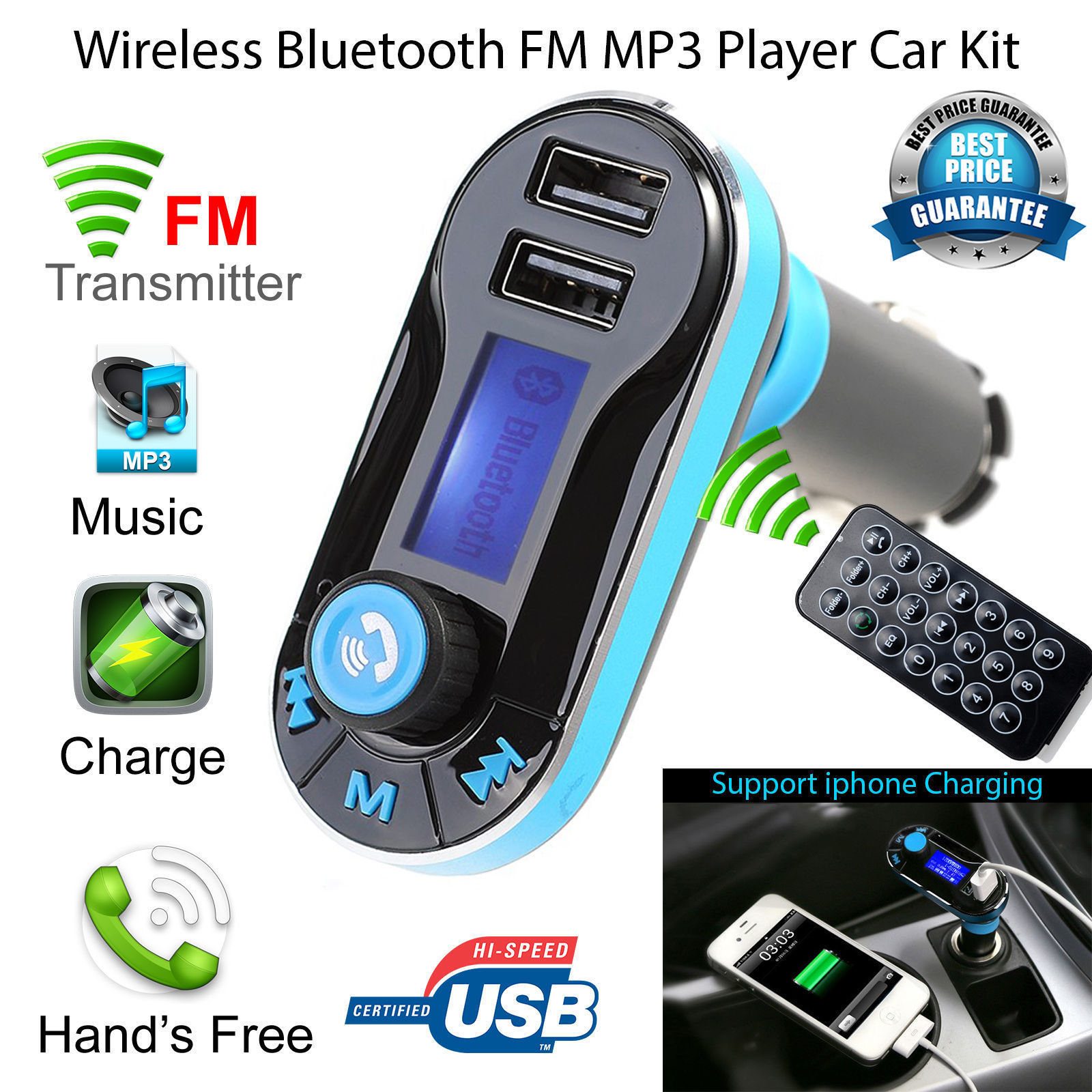 Wi-fi Bluetooth FM Transmitter Radio Automotive Equipment MP3 Music Participant LCD USB Charger