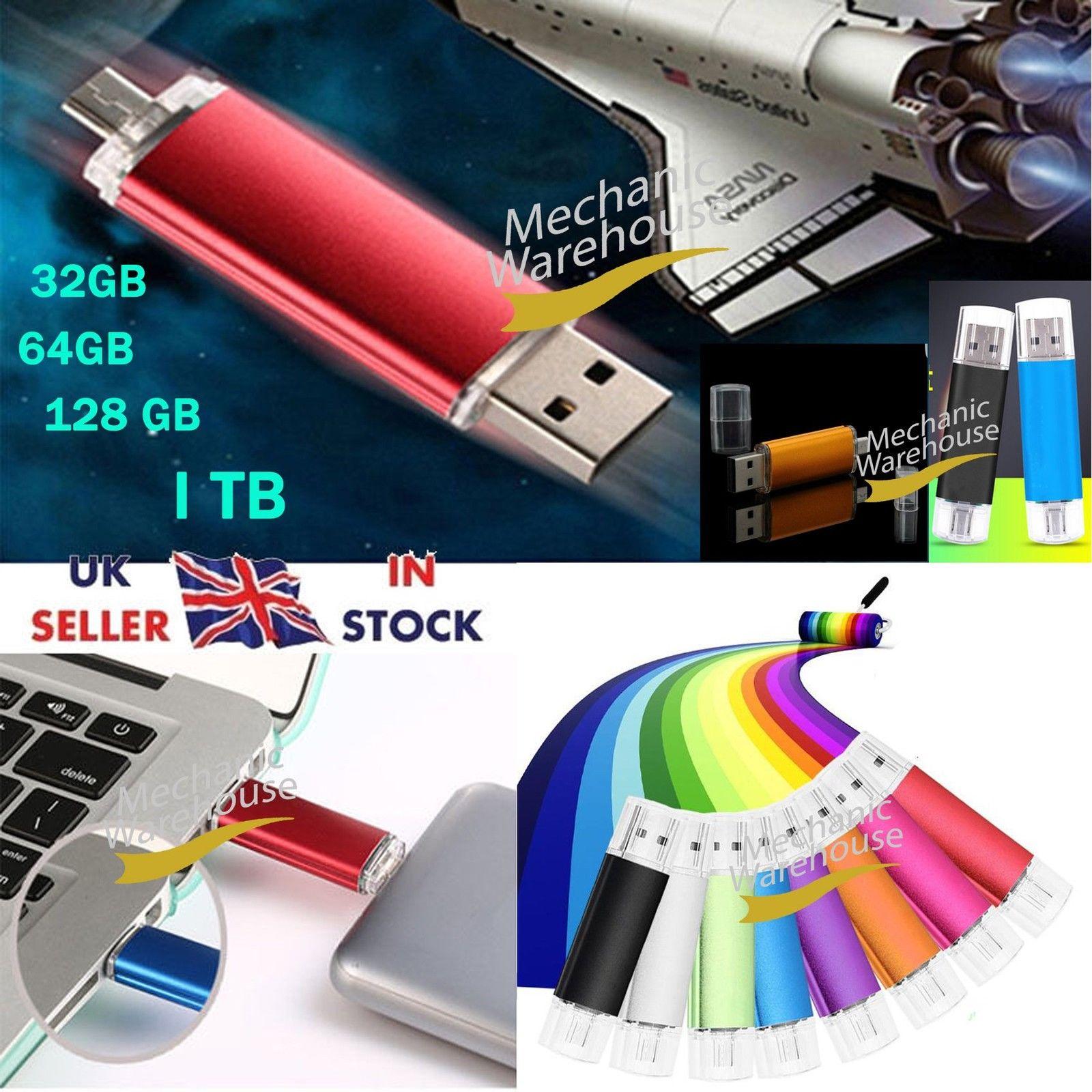 32 64 128GB 1TB i Flash Drive OTG System USB Reminiscence Thumb Key Stick Pen Storage