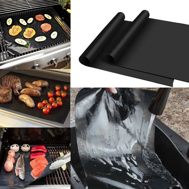 Resistant Cooking Sheets BBQ Grill Mat Non Stick Barbecue Baking Oven Liner UK