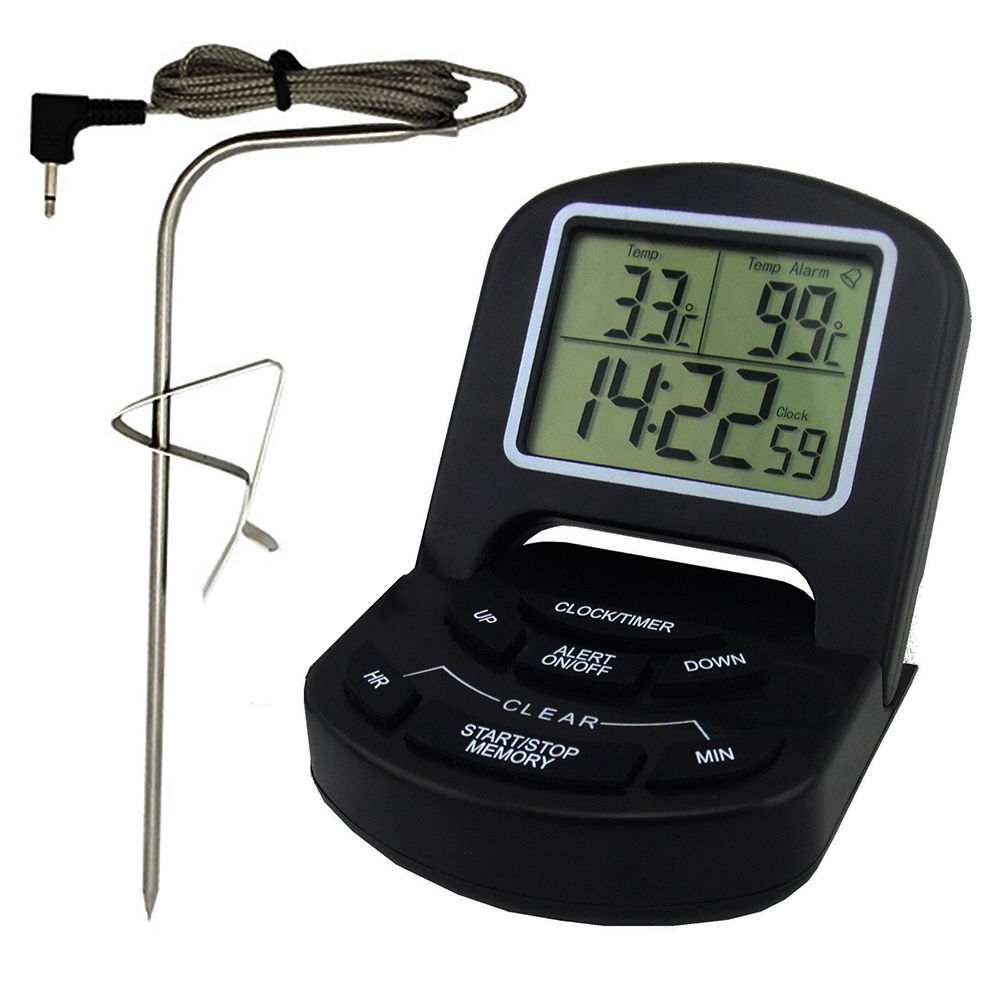 Wi-fi Digital Cooking Thermometer Alarm & Timer LCD Temperature BBQ Remote UK