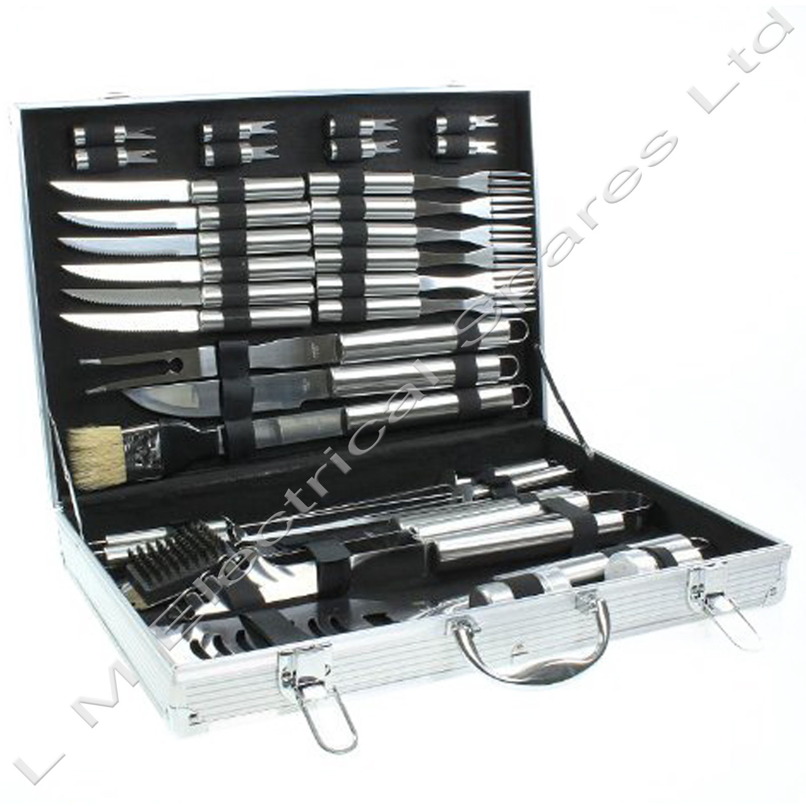 Deluxe 32 Piece BBQ Barbeque Stainless Metal Cutlery Cooking Instrument Utensil Set
