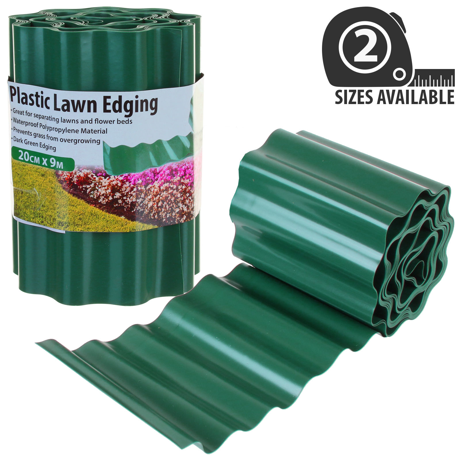 GARDEN PLASTIC GREEN LAWN EDGE EDGING BORDER FENCE GRASS FLEXIBLE PVC WALL PATH