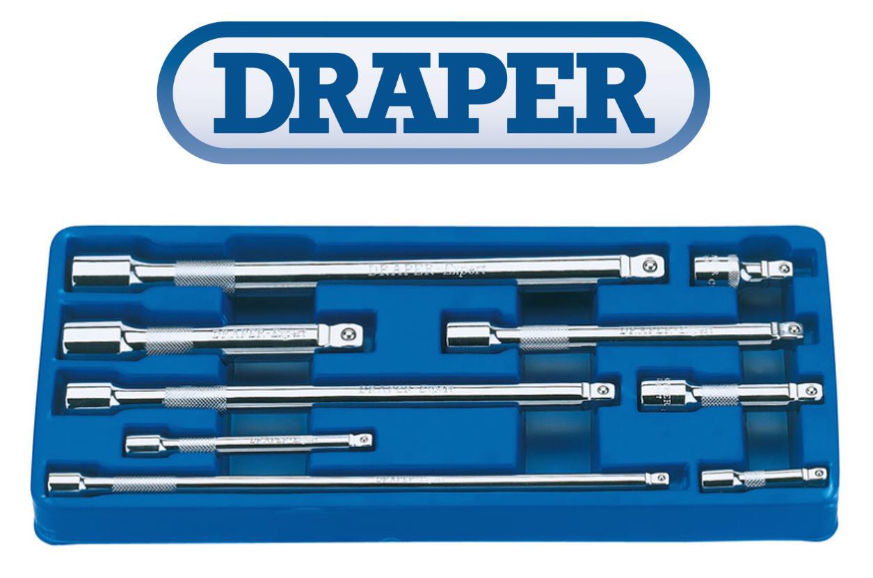 "Draper Professional 9 Pce Socket Wobble Extension Bar Set 1/four"", three/eight"", 1/2″ Drive 32997"