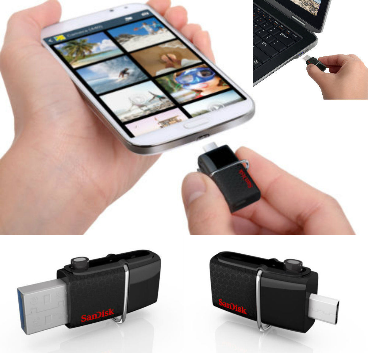 SanDisk 16GB Extremely Twin Flash Drive Pen Memory Stick For Android Telephones Tablets