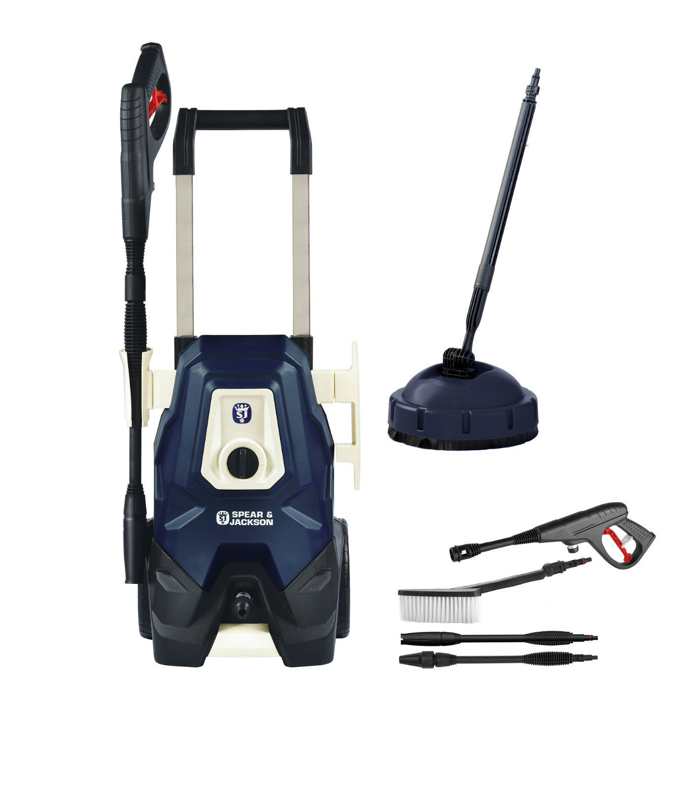 RRP £119.99 Spear & Jackson 1800W 130Bar Excessive Stress Washer with Patio Cleaner