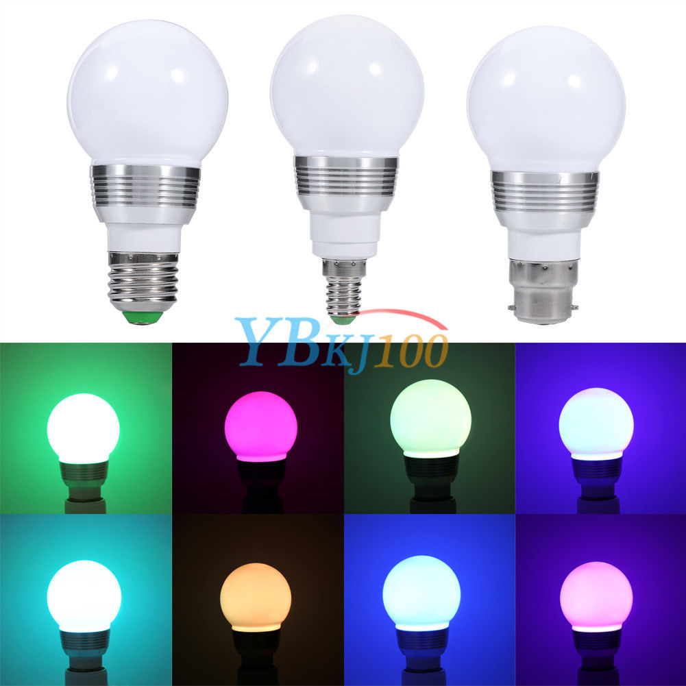 3w 10w e27 e14 b22 rgb led light color changing lamp bulb remote control 85 265v new end user. Black Bedroom Furniture Sets. Home Design Ideas