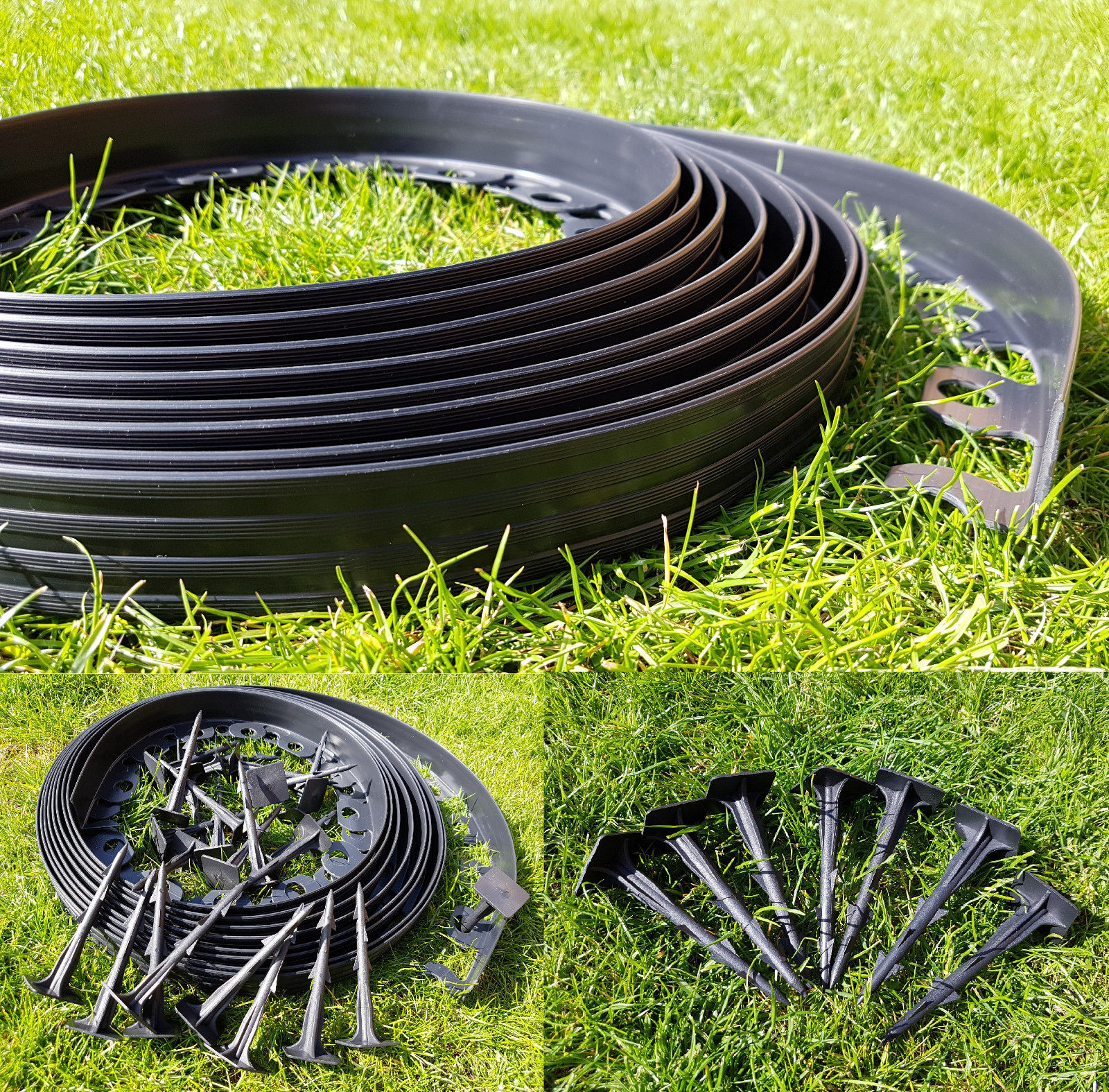 pvc plastic grass garden edging 10m 50 strong pegs versatile bordering for garden edge - Plastic Garden Edging