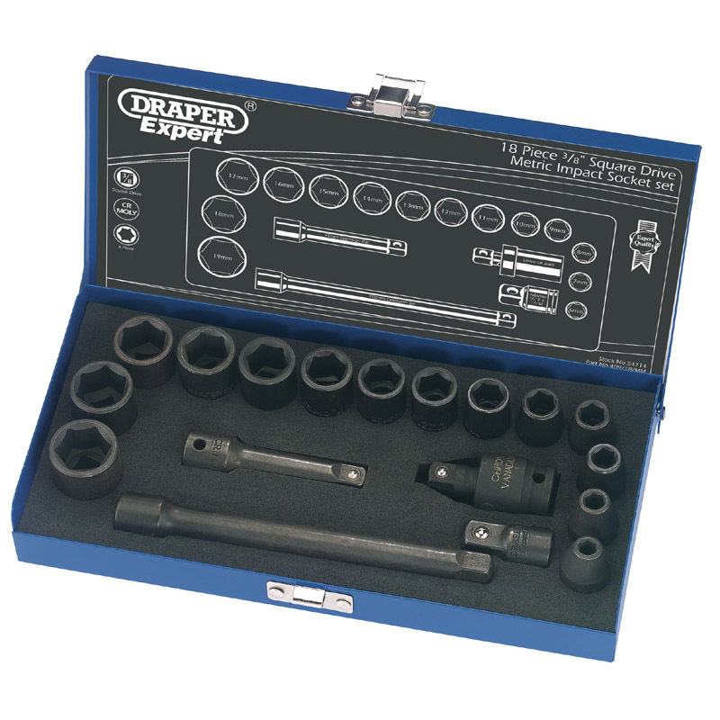 Draper Expert 18 Piece 3/8″ Sq Dr Hi-Torq Metric Impact Socket Set 54714