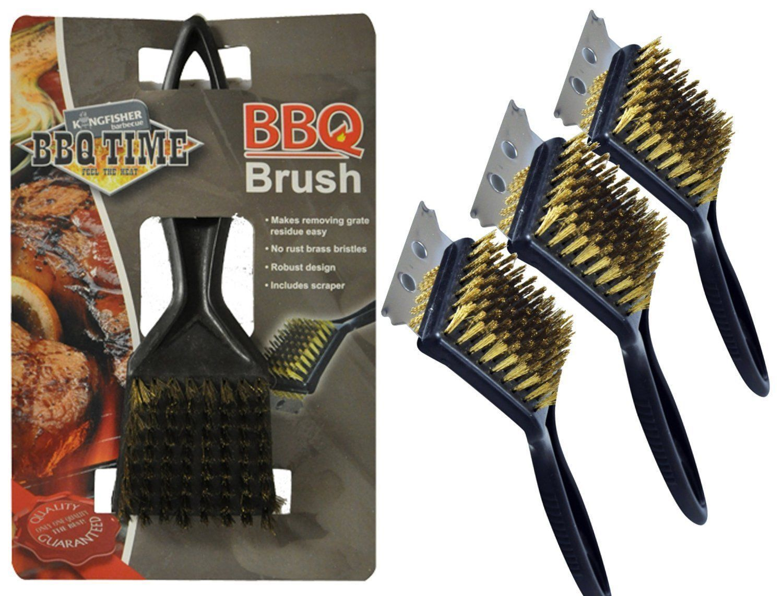 BBQ Brass Bristle Cleaner Brush with Metallic Scraper Oven Grill 30cm Heavy Responsibility