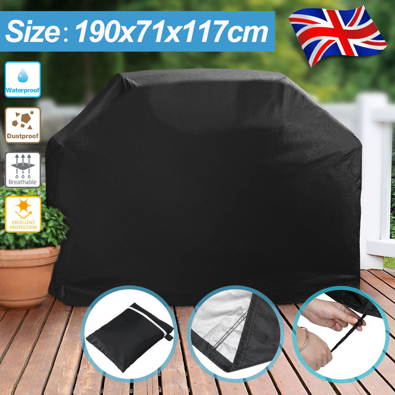 Further Massive Heavy duty BBQ Cowl Waterproof Rain Snow Barbeque Grill Protector