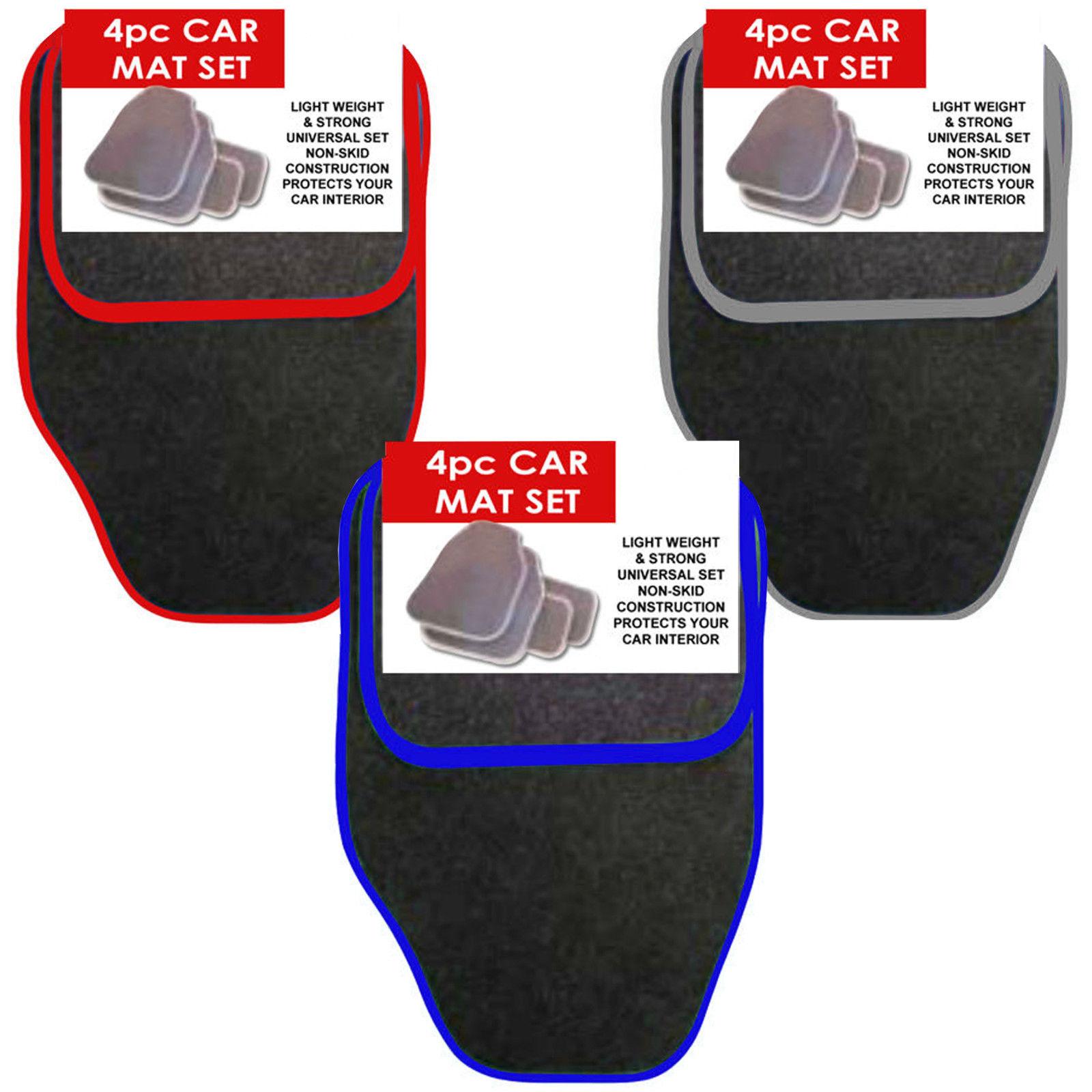 four PIECE FRONT REAR BLACK CAR MAT CARPET SET NON-SLIP GRIP UNIVERSAL FLOOR MATS