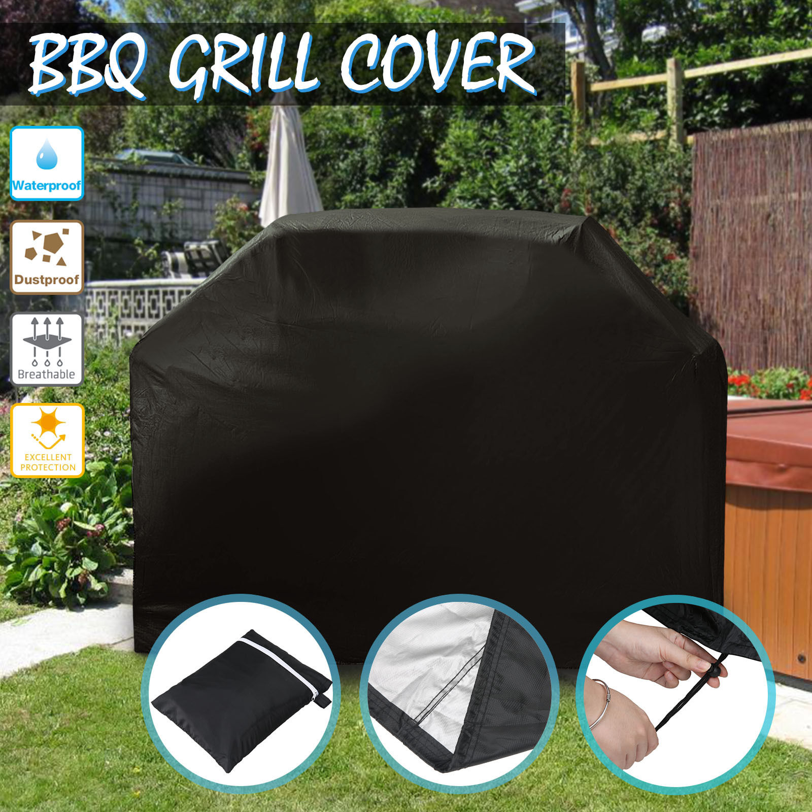 BBQ Cowl Heavy Responsibility Waterproof Rain Snow Barbecue Grill Out of doors Protector 145cm