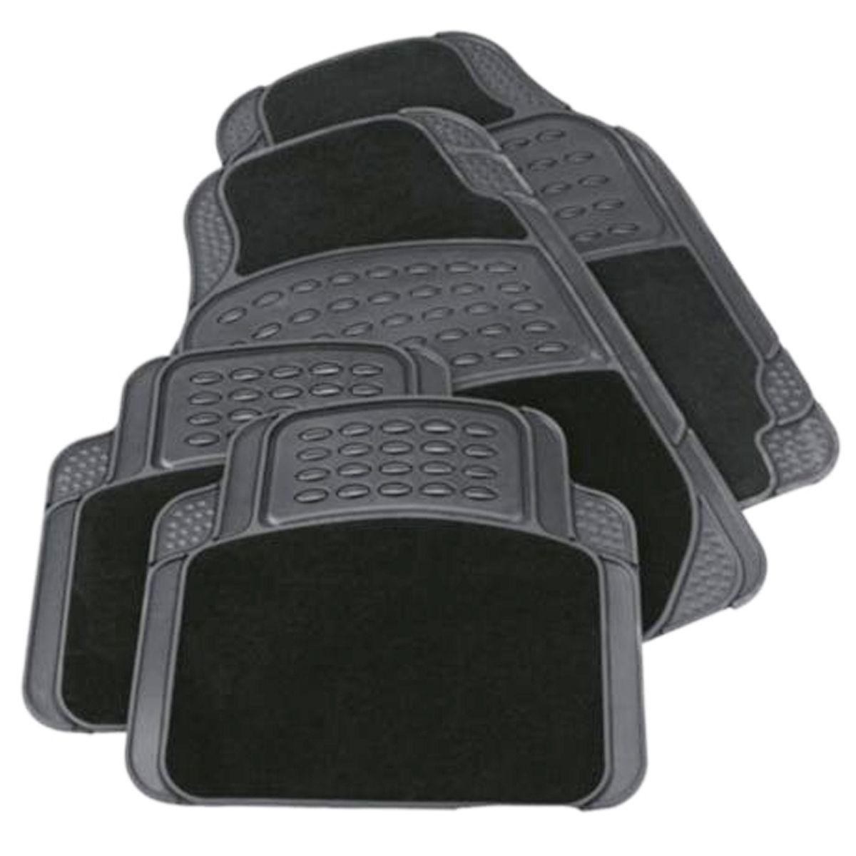4PCS HEAVY DUTY UNIVERSAL BLACK CARPET & RUBBER CAR MAT SET NON SLIP VAN MATS