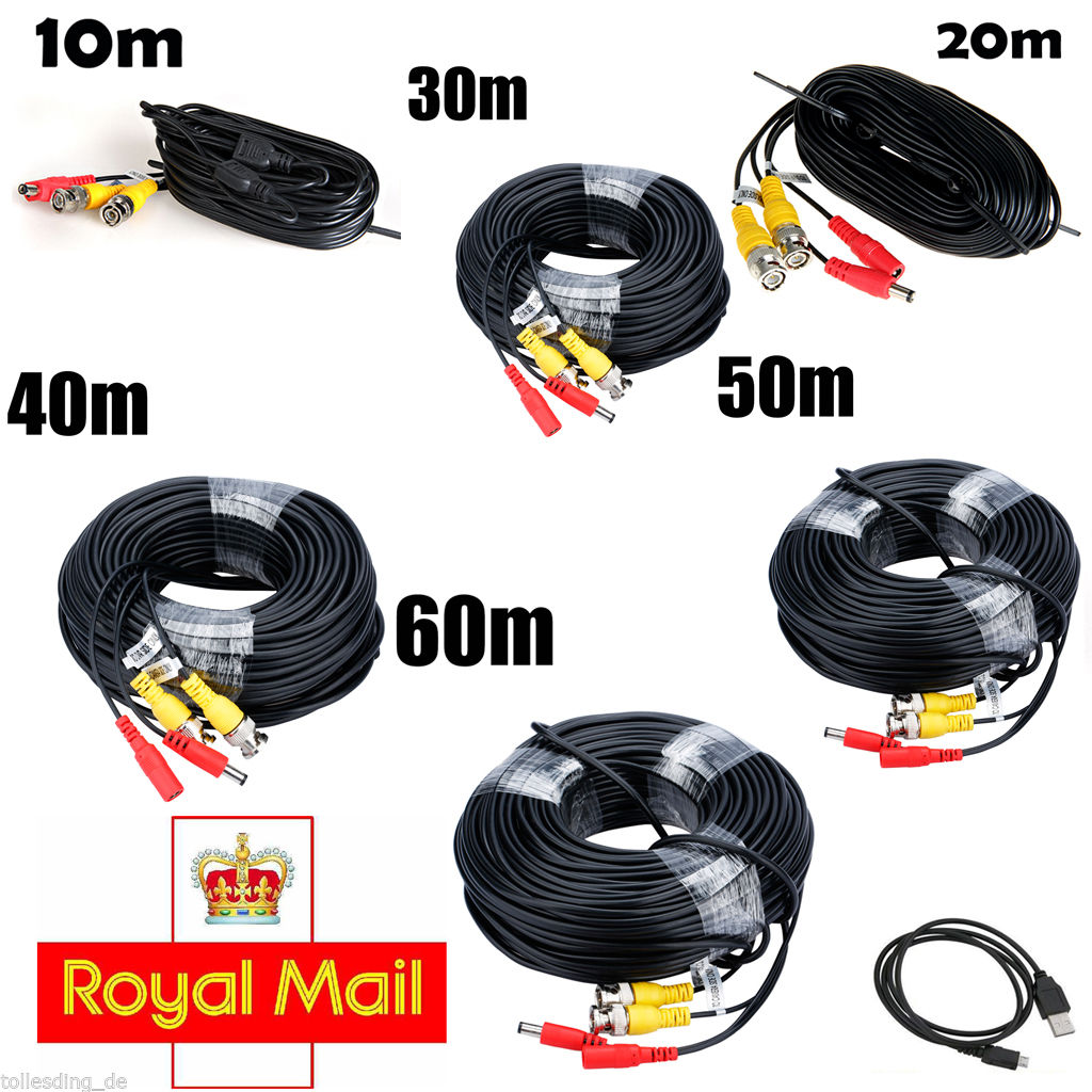 10m m 30m 40m 50m 60m CCTV BNC DVR Digicam Video DC Energy safety Cable Lead