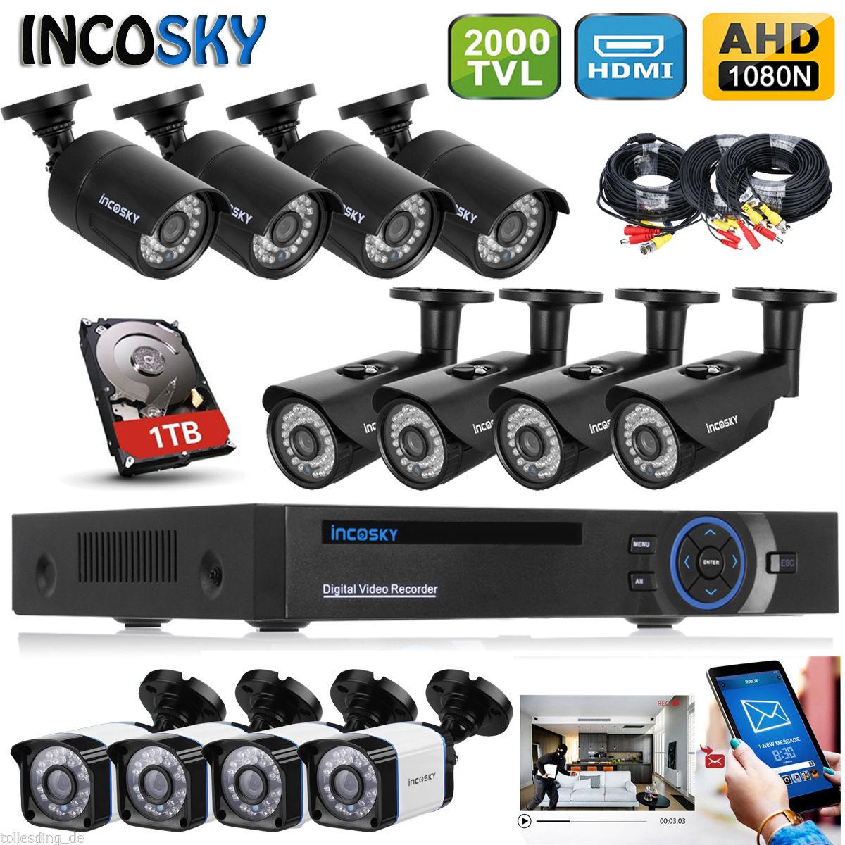 1TB HDD 8CH AHD HDMI DVR Outside 00TVL/1500TVL CCTV security Digicam System UK