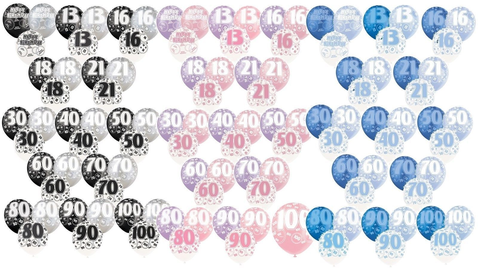"6 x 12/"" Birthday Glitz Pearlised Latex Party Balloons Pink Blue Black 13th-100th"