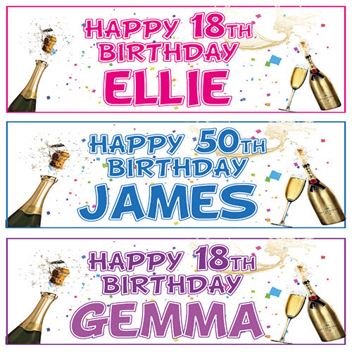2 PERSONALISED BIRTHDAY BANNERs 3ft x 1ft – 18th 21st 30th 40th 50th 60th 70th
