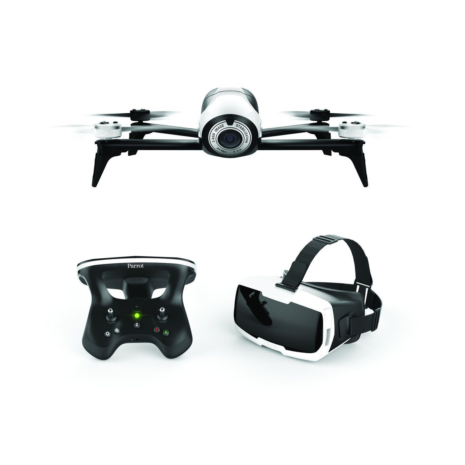 Parrot Bebop 2 Digicam Drone – White with Skycontroller 2 and FPV Cockpit Glasses