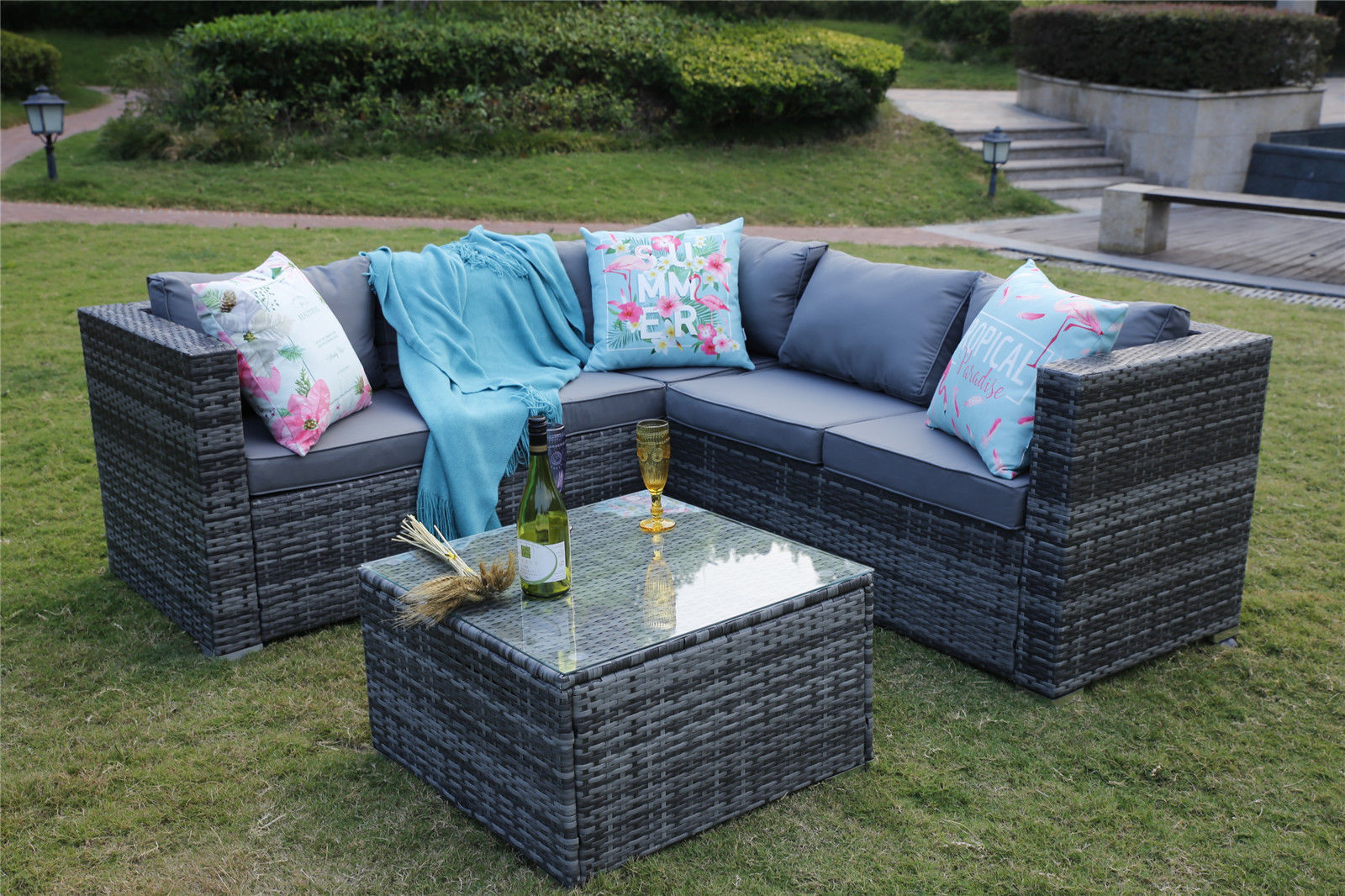 Outdoor Rattan Garden Furnishings 5 Seater Nook Sofa Patio Set with Cowl Risk