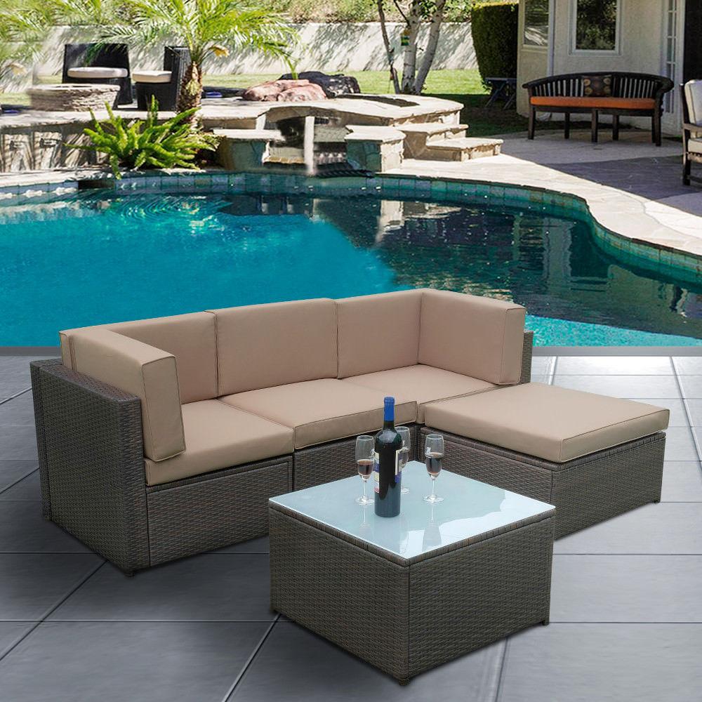Rattan Garden Furnishings Set Nook Sofa Lounge Desk Exterior Patio Park Hub