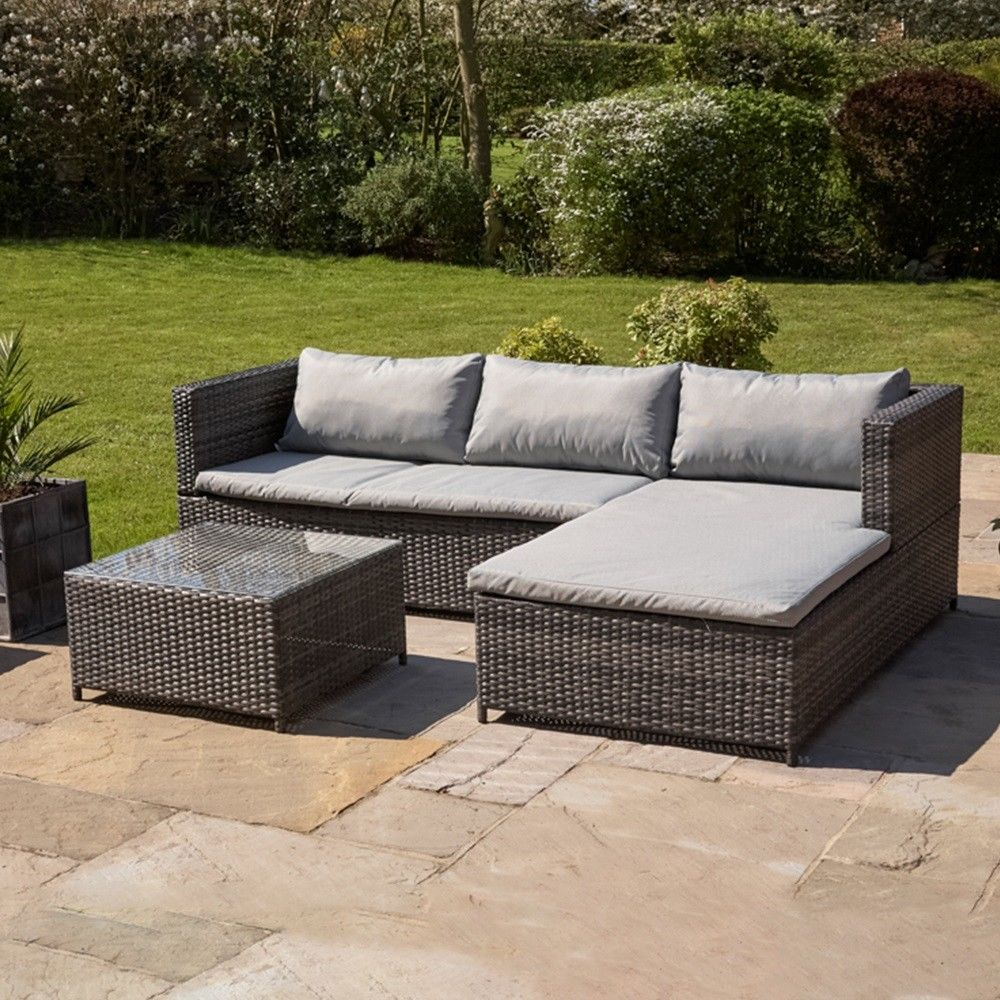 RATTAN GARDEN FURNITURE SET CORNER SOFA GLASS TABLE GREY OUTDOOR CONSERVATORY
