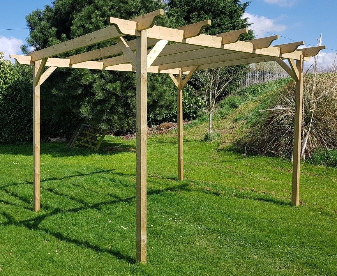 Fully Notched Wooden Garden Structure Rustic Brown Premium Pergola 6 Post
