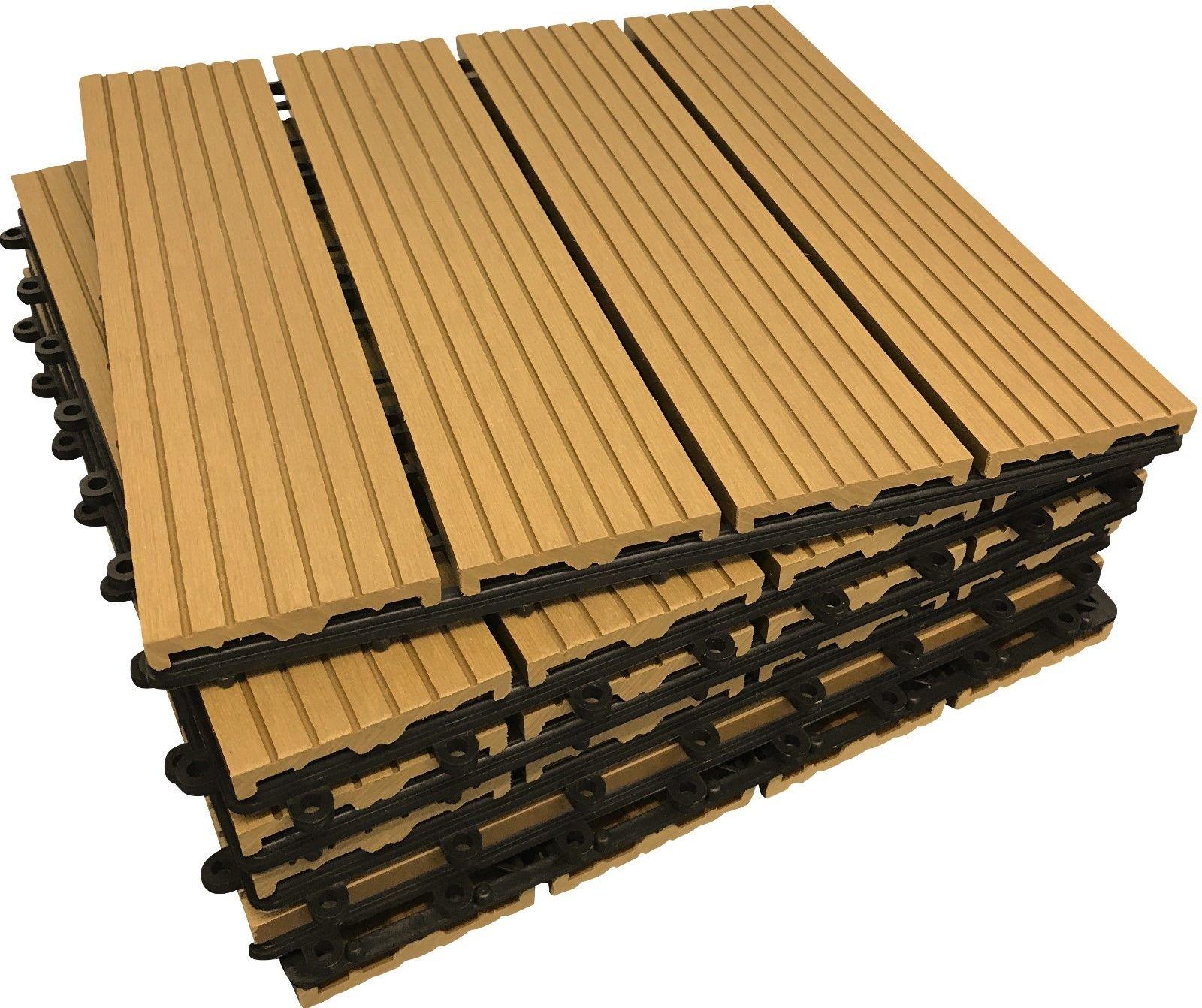 COMPOSITE DECKING TILES – Click on-Deck Interlocking Deck Tile Patio Balcony Garden