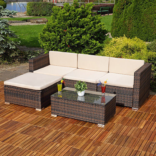 Buy Garden Corner Sofa: RATTAN GARDEN FURNITURE CORNER SOFA SET LOUNGER TABLE