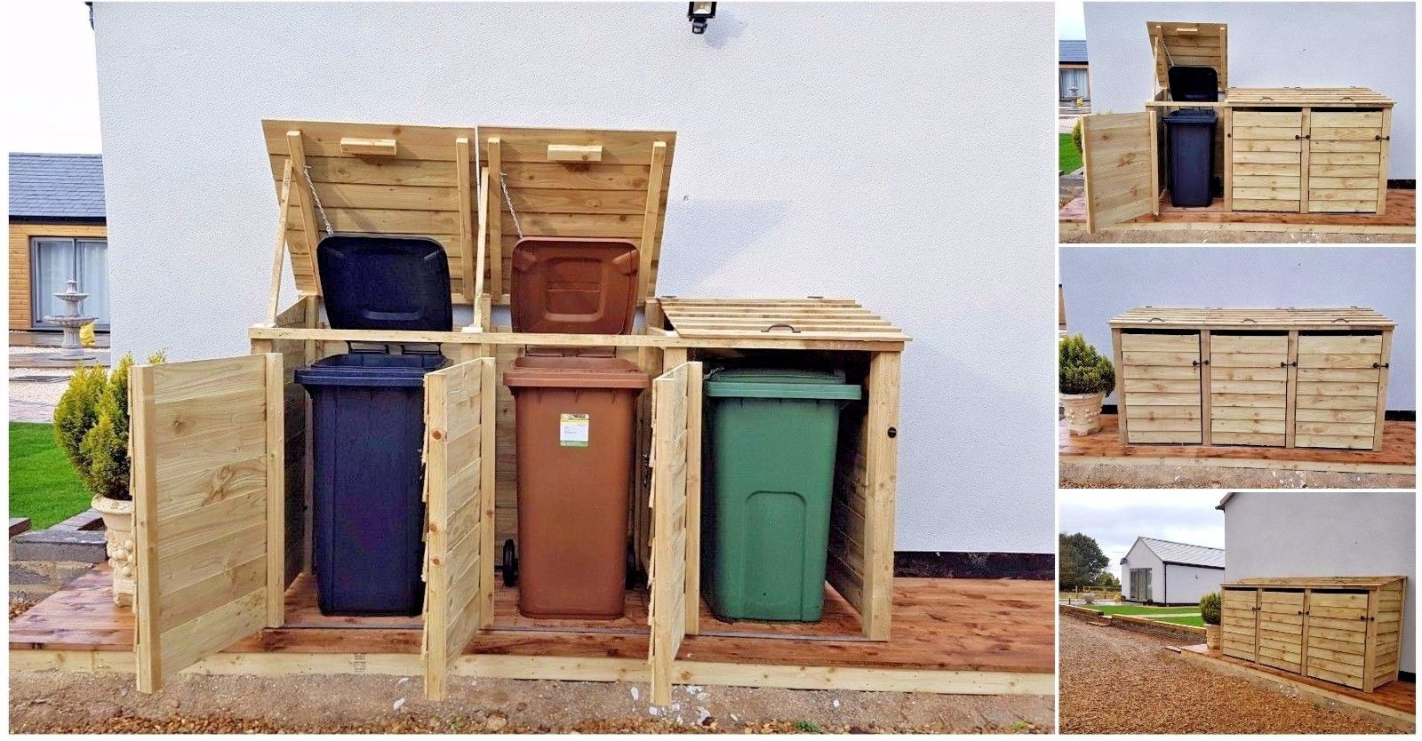 OUTDOOR TRIPLE WOODEN WHEELIE BIN STORE CUPBOARD SHED FOR GARDEN STORAGE DUSTBIN