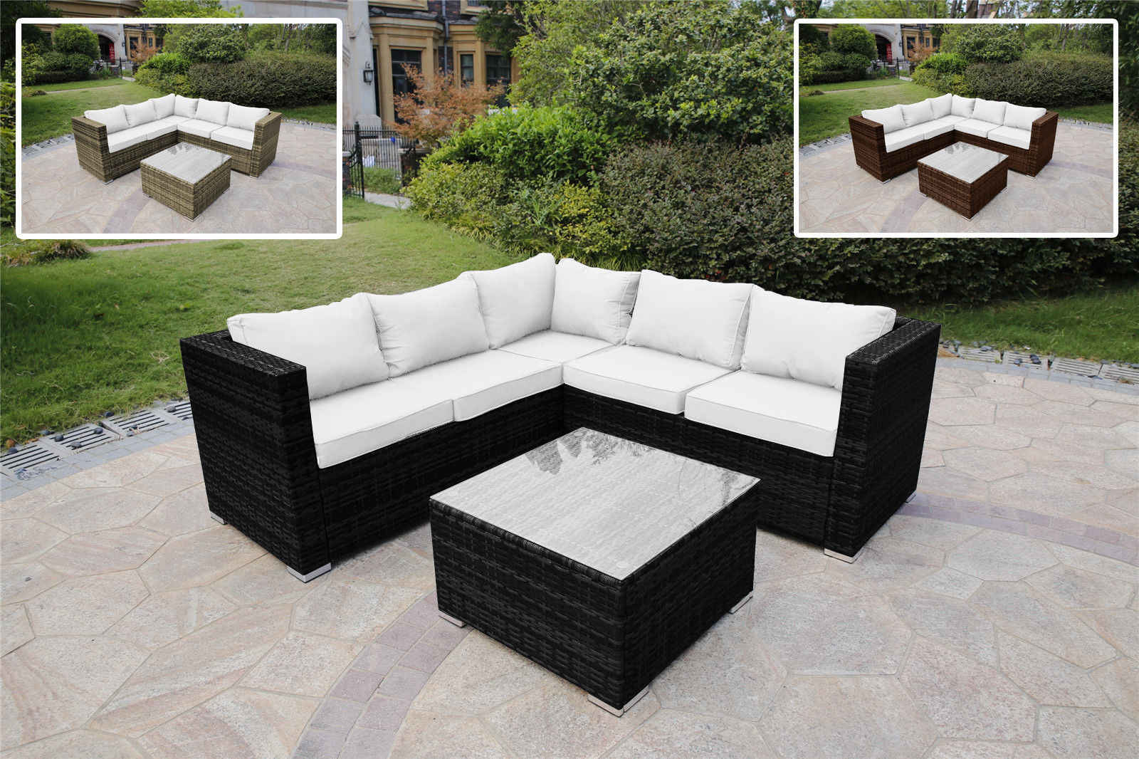 RATTAN GARDEN FURNITURE SET CORNER SOFA LOUNGER TABLE OUTDOOR PATIO CONSERVATORY