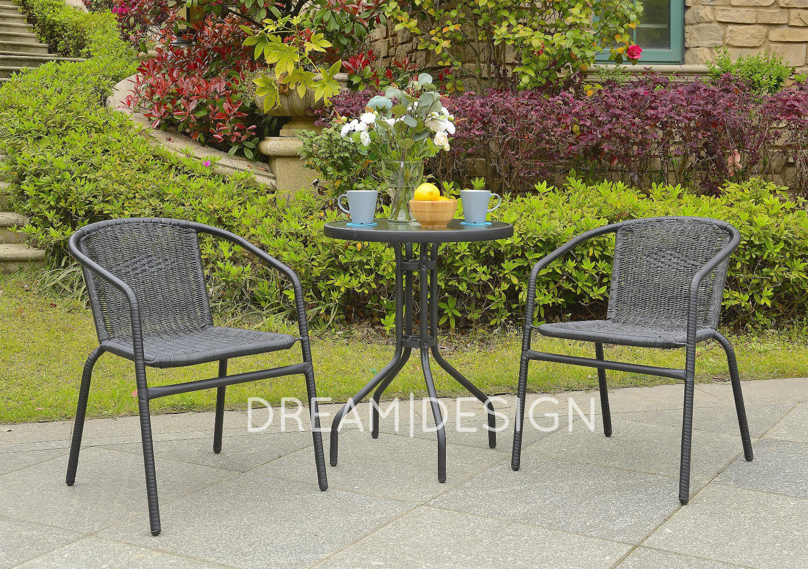 Bistro PE Rattan Set 2 Chair and Consuming Desk Garden Furnishings Outdoor Curved