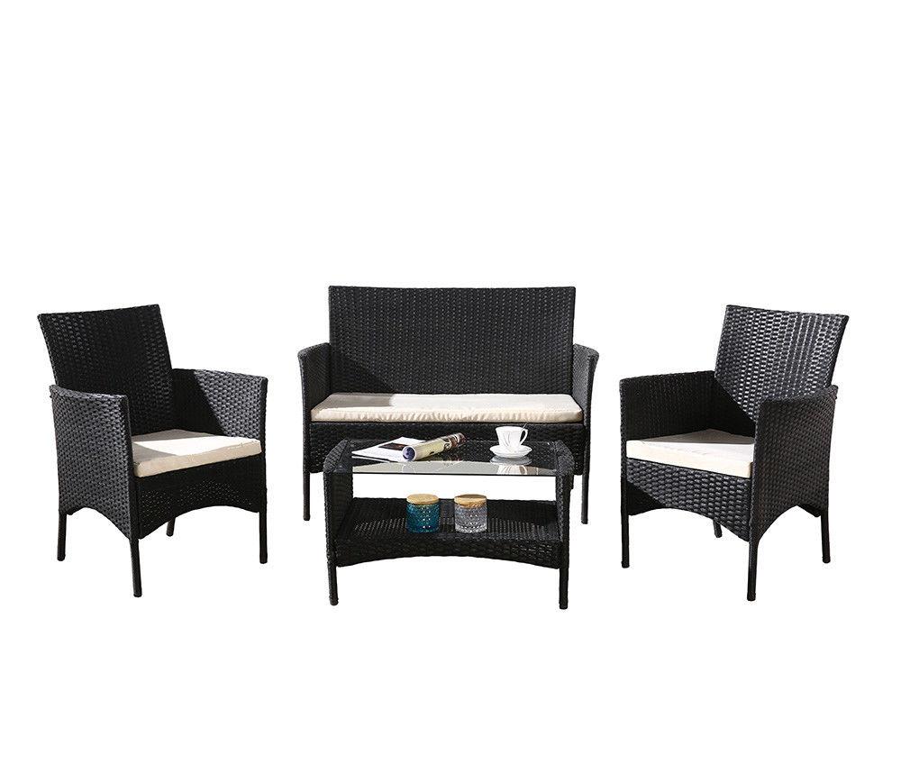 Rattan Garden & Patio Furnishings Outdoors Desk Chairs Sofa Set Wicker Metallic Physique