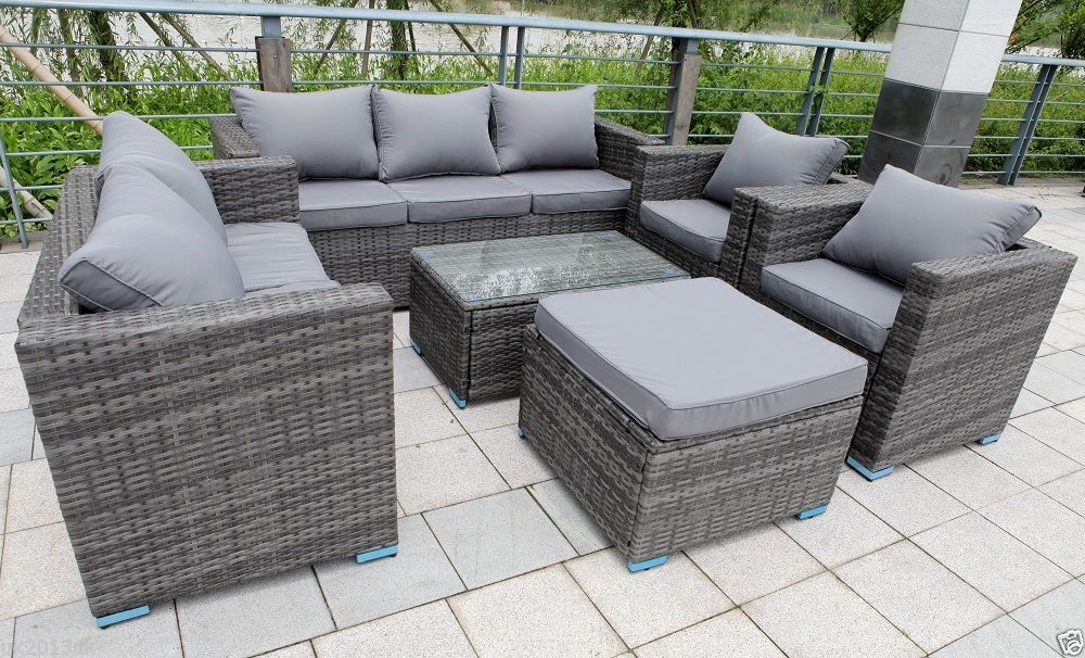 eight SEATER NEW RATTAN GARDEN FURNITURE SET SOFA TABLE CHAIRS – PATIO CONSERVATORY