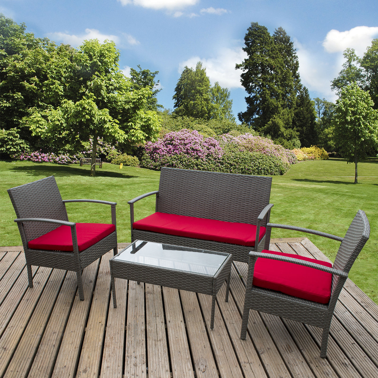 Marko 4PC Rattan Garden Furnishings Set Glass Excessive Desk Grey Wicker Weave Sofa Set