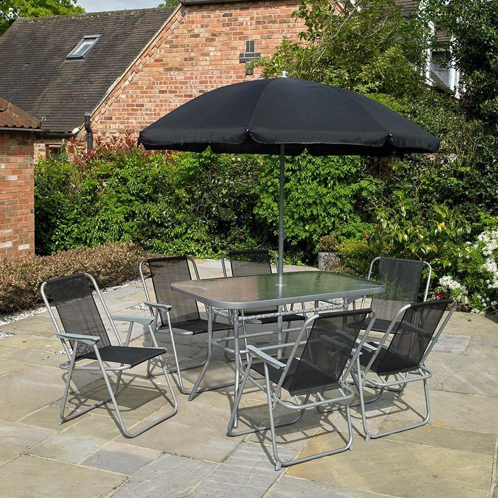 BLACK eight PIECE GARDEN FURNITURE OUTDOOR PATIO DINING SET / PARASOL / 6 SEATER