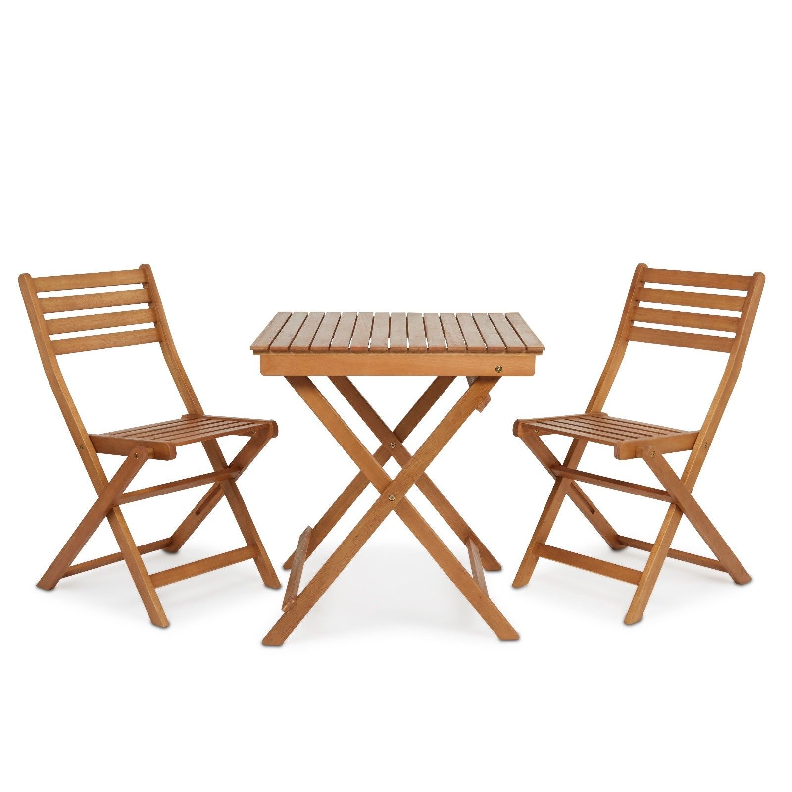 Garden Desk and Two Chairs Outdoor Folding Furnishings Wooden Bistro Set Patio