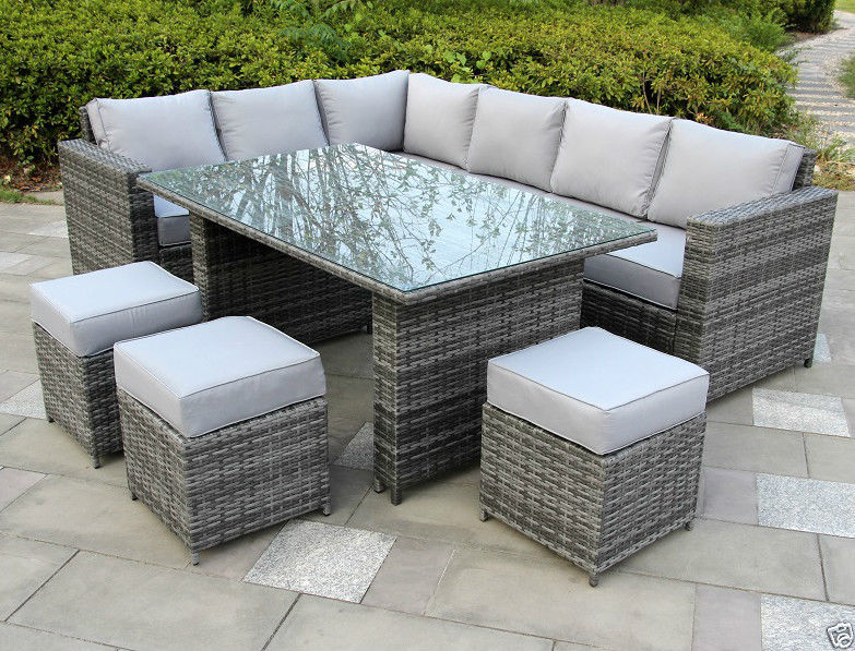 Conservatory Sofa Consuming Rattan garden furnishings set 9 seater free rain cowl