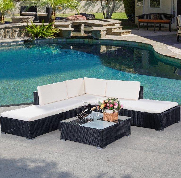 6PC Rattan Outdoor Garden Furnishings Patio Nook Sofa Set PE Wicker Steel Seat
