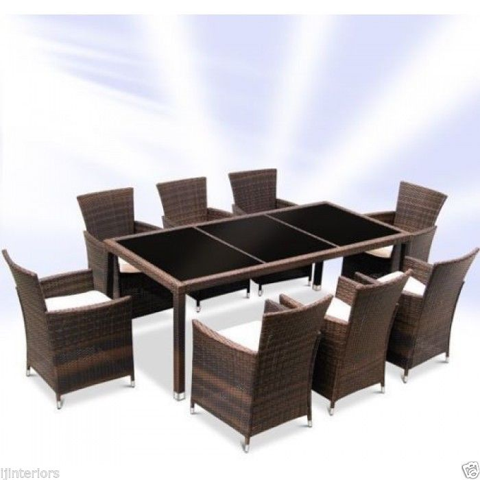 RATTAN GARDEN FURNITURE SET DINING TABLE AND eight CHAIRS