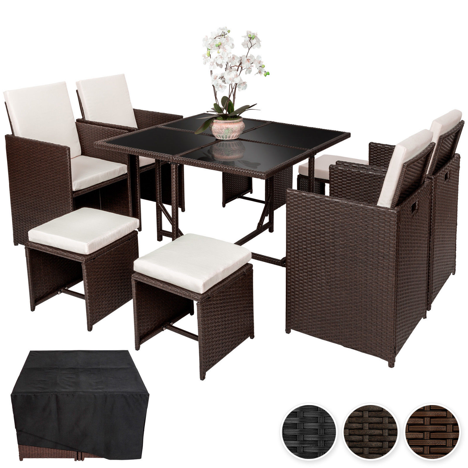 Rattan Garden Furnishings Set Cube Consuming Set Wicker eight Seater Desk Cushions