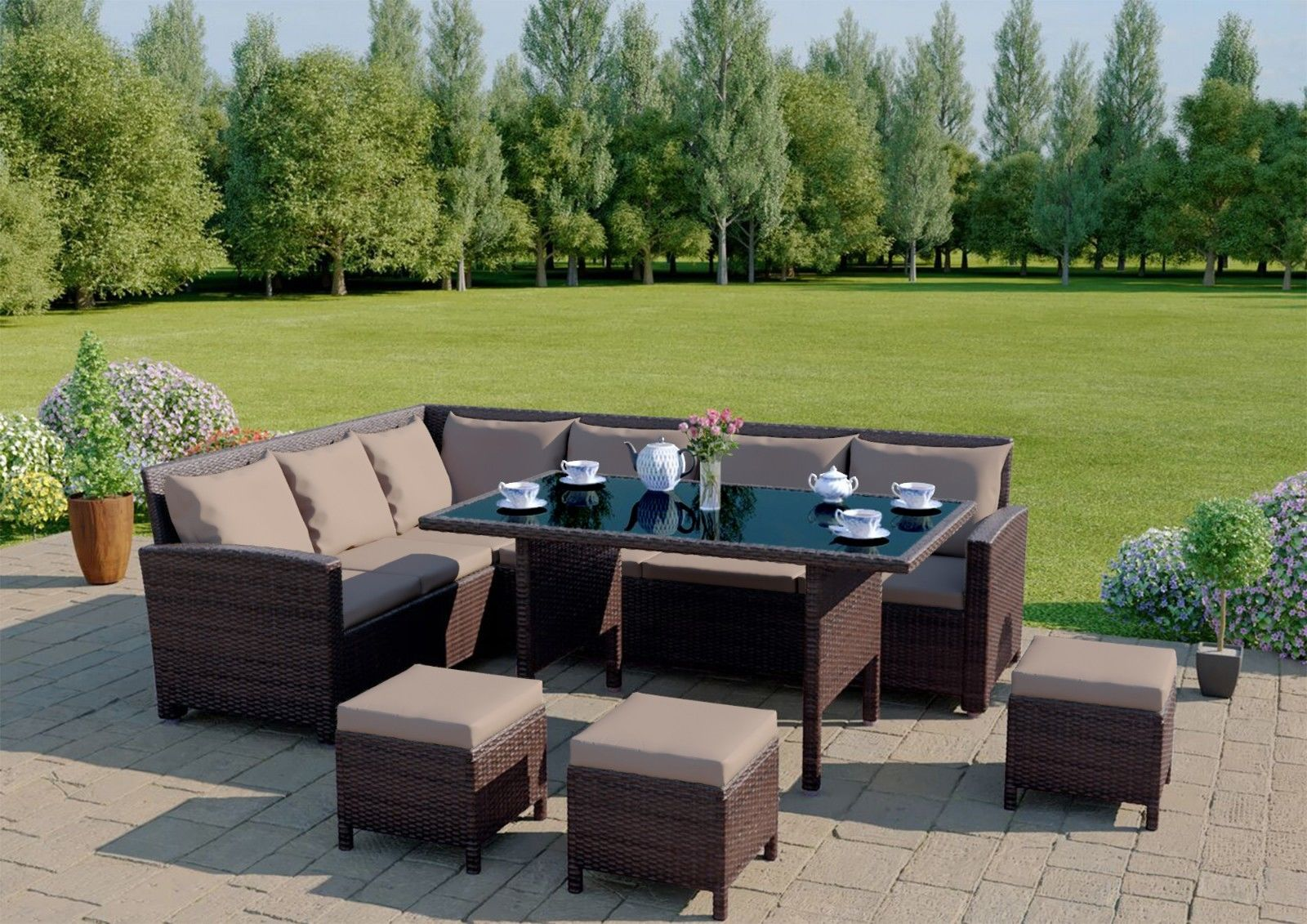 BROWN RATTAN GARDEN FURNITURE 9 SEATER SOFA SET& DINING TABLE BENCH