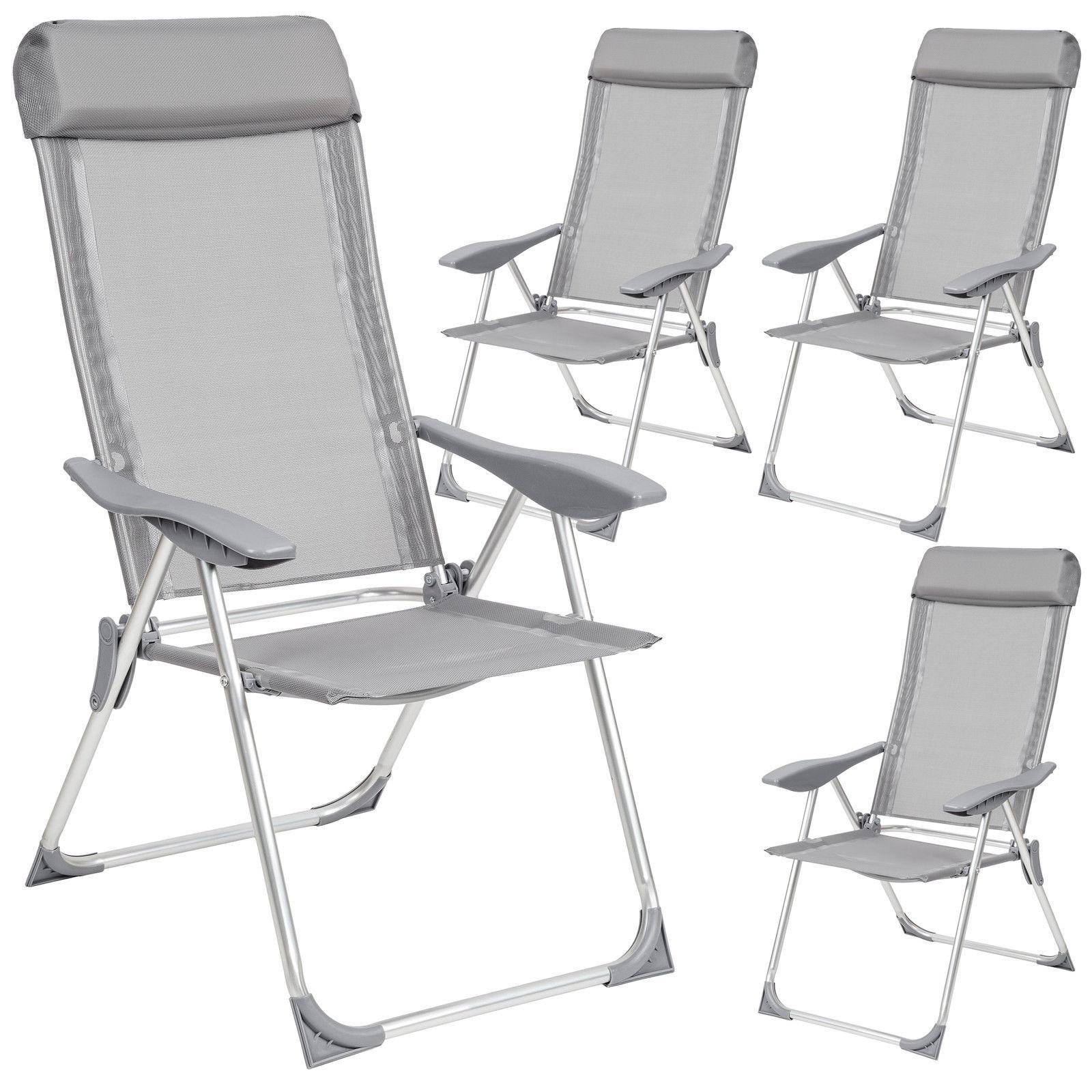 Set 4 Aluminium folding garden chairs outdoors tenting patio furnishings silver