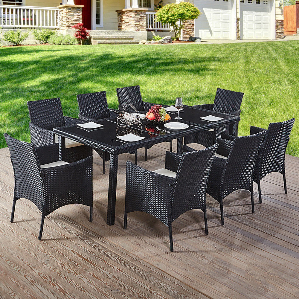 Rattan Garden Furnishings Consuming Desk Excessive Glass and eight Chairs Set Outside Patio