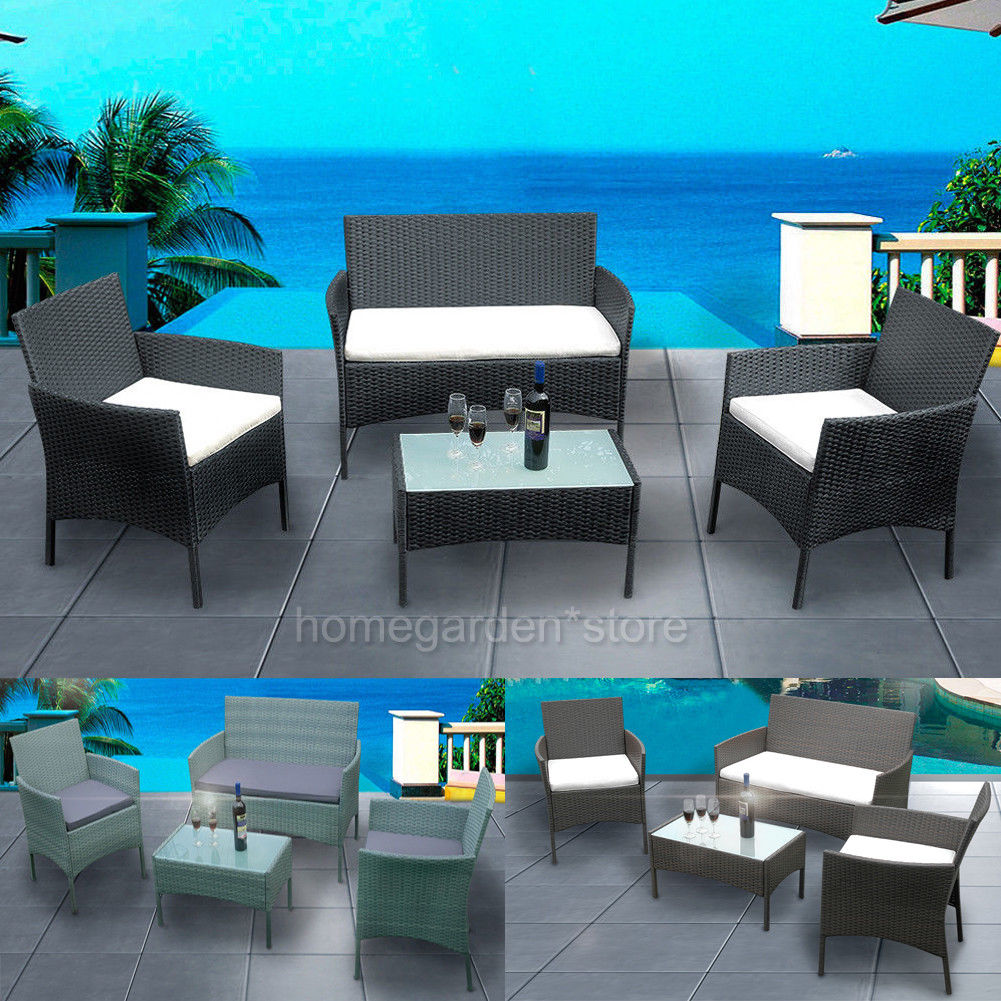Rattan Garden Furnishings 4 piece Set Chair Sofa Desk Garden Patio Park Pub Residence