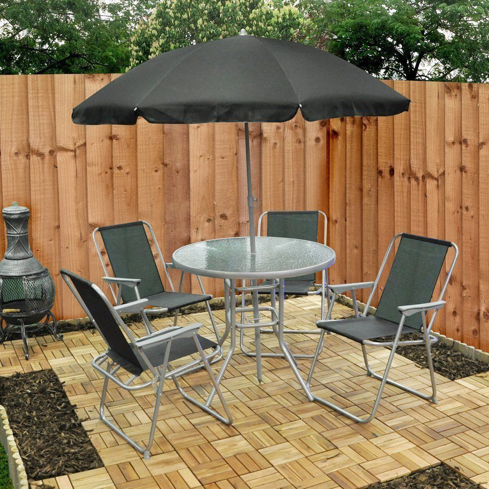 Garden Patio Set 4 Seater Consuming Set Parasol Glass Desk And comfortable chairs