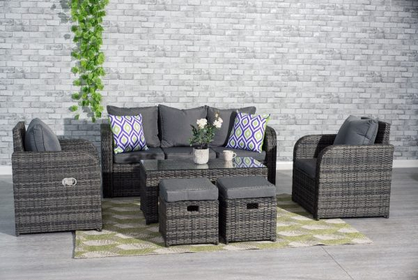 Grey Rattan Garden Furniture Set Sofa, Grey Rattan Garden Furniture Patio Sofa Chair Set Conservatory Alfresco
