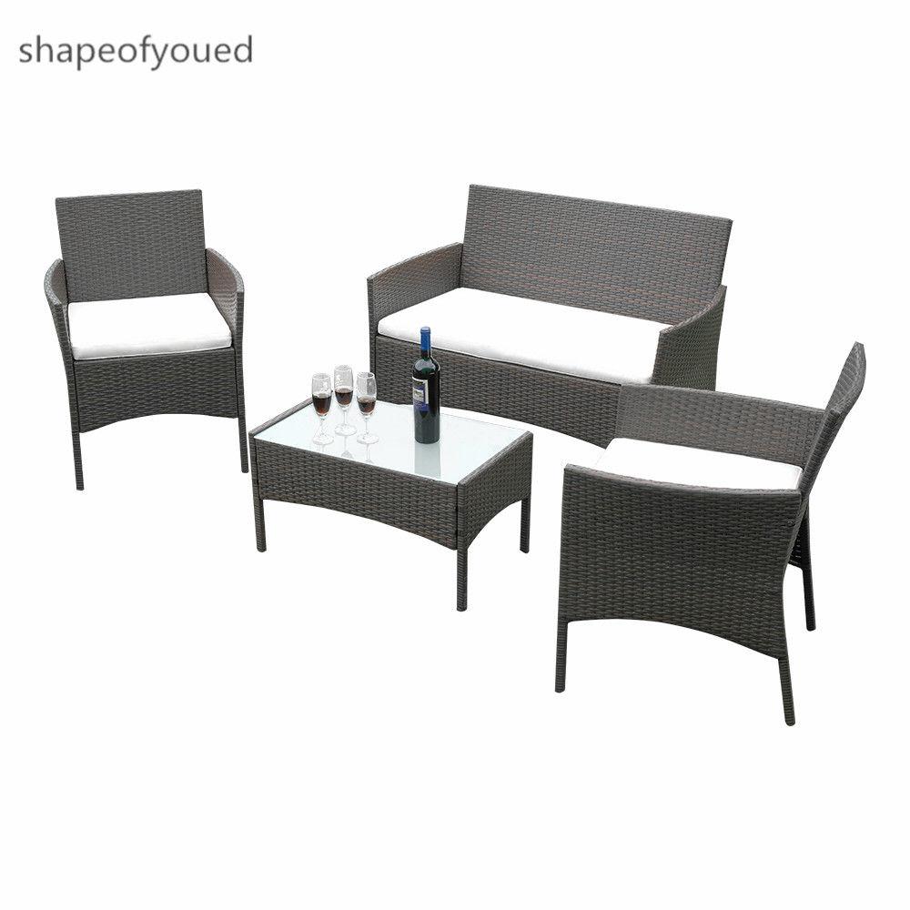 Rattan Garden Furnishings Set 4 PCS Chair Comfy Desk Exterior Patio Conservatory Uk