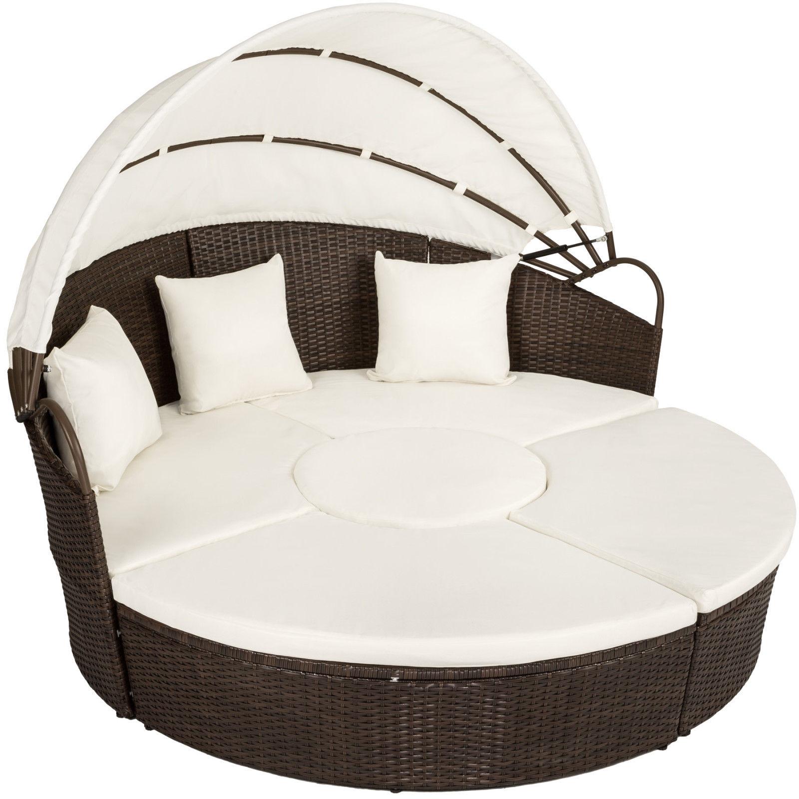 Alu rattan day mattress garden furnishings outdoor lounger sofa photo voltaic roof desk brown mi
