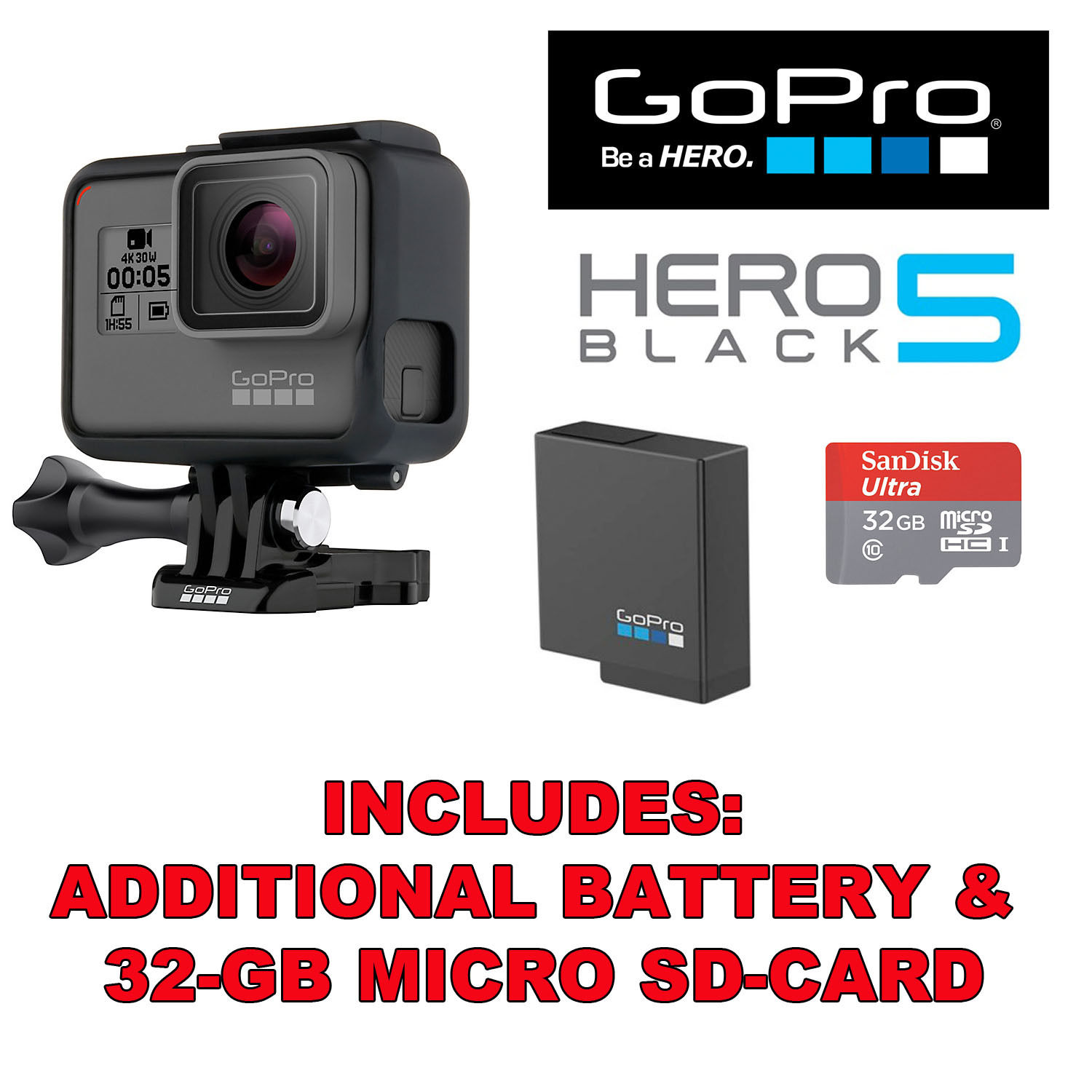 GoPro HERO5 Black Model 4K HD Watertight Exercise Digicam +32GB SD-Card + Battery
